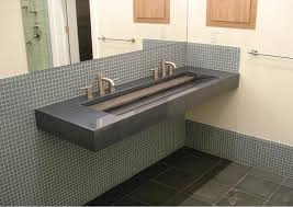 trough sink with 2 faucets bathroom