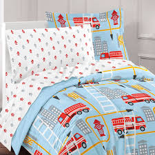 Blue Fire Truck Bedding Twin Or Full Comforter Bed In A Bag Set With ...