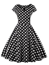 black l retro polka dot swing fit and flare dress rosegal com