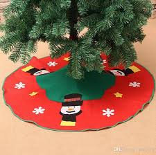 Christmas Tree Skirt Large 100cm Single Layer Green Edge Plum Heart Three Snowman Head Decals Decoration Gift Indoor