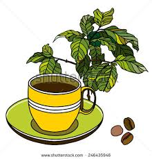 Cup Saucer Coffee Beans Tree Stock Vector 246435946