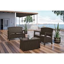 Suncast Outdoor Patio Furniture by Suncast Elements 3 Piece Resin Patio Set With Storage Target