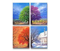 Youkuart Kx9006canvas Prints 4panel Wall Art Boat Spring Summer
