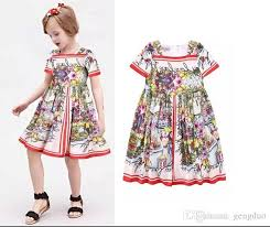 2018 Baby Girl Dress 2016 Summer Kids Dresses For Girls Costumes Brand Designer Princess Floral Print Cotton Dobby Clothes From Gengduo