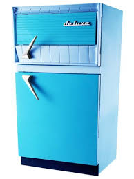 Vintage Refrigerator Retro Kitchen Fridge Appliance Space Age Mid Century