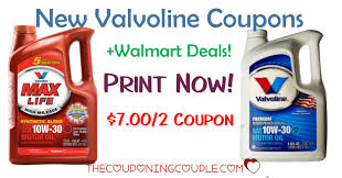 New Valvoline Oil Coupon + Walmart Deal!