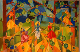 Abstract Art Painting The Peoples And Nature