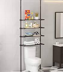 allzone badezimmer organizer mit 4 etagen über dem wc regal 4 verstellbare regale stange 236 296 cm öl bronze
