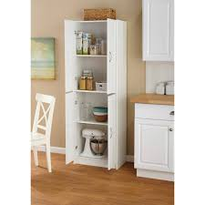 Furniture Modern White Wood Cabinet Shelves For Charming Kitchen