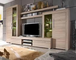 details zu wohnwand schrankwand sonoma eiche wohnzimmer anbauwand inkl beleuchtung boom