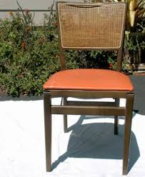 Stakmore Folding Chair Vintage by Stakmore Vintage Portable Wood Folding Chair Vinyl U0026 Caning 1950s