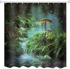 a monamour duschvorhänge verzauberter teich fantastische fluss grüne tropische pflanzen blätter pilz fisch moos regenwald wilden dschungel