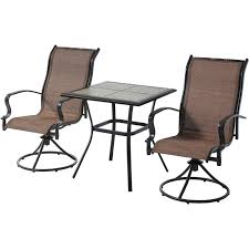 Mainstays Patio Heater Wont Stay Lit by Mainstays Wesley Creek 3 Piece Bistro Set With Swivel Chairs