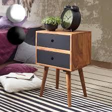 finebuy retro nachtkonsole sheesham holz nachttisch mit 2 schubladen dunkelbraun design nachtkästchen 40 x 67 x 35 cm kleines nachtschränkchen