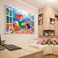 Short Description 3d Living Bed Room Decoration Colorful Cartoon Mermaid Sea World Vinyl Wall Sticker