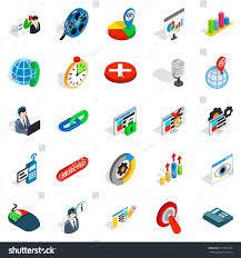 information bureau information bureau icons set isometric set stock vector 701387224
