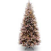 Downswept Slim Christmas Tree by National Tree Pre Lit 7 1 2 U0027 Feel Real Down Swept Douglas Fir
