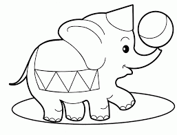 Elephant Circus Animals Coloring Pages For Babies