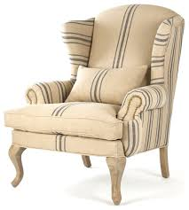 Strandmon Wing Chair Assembly by Zacharie Khaki Linen English Wing Chair With Blue Stripe