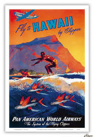 Fly To Hawaii Pan American World Airways Travel Poster