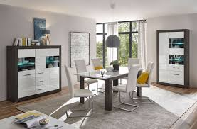 etero esszimmer set 249cm concret weiß hochglanz highboard modern vitrine