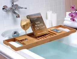 wooden bathtub reading tray caddy with book and wine holder plus