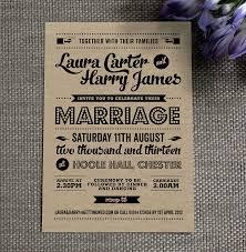 Vintage Wedding Invitations Rectangle Brown Black Casual Wording Artistic Lettering Samson Kraft Retro