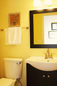 Gray And Yellow Bathroom Decor Ideas by Grey And Yellow Powder Room Floor Mount Tub Faucet Gray Vanity