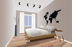 modernes schlafzimmer im minimalistischen design mit blumen