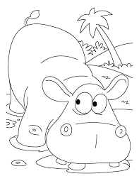 Scared Hippopotamus Coloring Pages