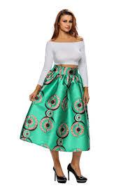 women green african print a line pleated midi skirt