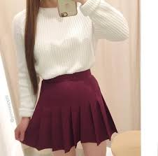 Sweater White Winter Outfits Cute Skirt Skater