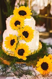 Farm Style Sunflower Wedding Cake Ideas