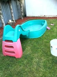 Hard Plastic Kiddie Pool Baby With Slide Very Rare Swimming The Kid