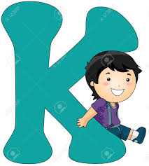 Illustration Of A Boy Leaning Against A Letter K Stock Photo