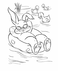 Easter Coloring Pages Ducks And Bunny