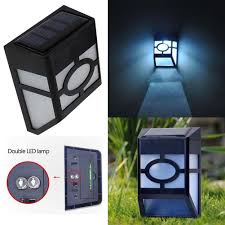 solar powered wall mount led light garden path outdoor fence yard
