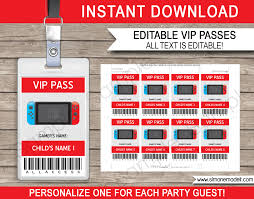 Nintendo Switch Party VIP Passes | Video Game Birthday Party Printables Video Game Party Invitations Gangcraftnet Invitation On K1069 The Polka Dot Press Monster Truck Birthday Ideas All Wording For Save Gamers Fun Birthdays Planning A 13yr Old Boys Todays Pitfire Pizza Make One Amazing Discount Unique Dump Festooning And Printable Orderecigsjuiceinfo Star Wars Signs New Designs Invitations Fancy Football