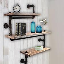 Reclaimed Wood Industrial DIY Pipe Shelf Shelves Steampunk Rustic Urban Bookshelf 3 Tier Real