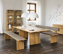 Wood Dining Table With Bench As The In Wooden Kitchen Prepare 2