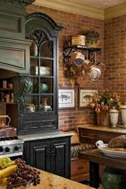 Brick Red Kitchen Cabinets With Country Style Decor Rustic And Decorating Ideas Countertops Designs 13
