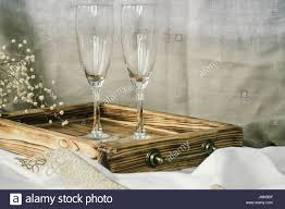 Pair Of Wine Glasses And Wooden Tray Champagne Flutes On The Wedding Table Mockup Vintage Rustic Style