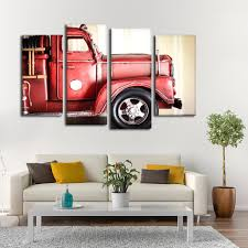 Miniature Fire Truck Multi Panel Canvas Wall Art | ElephantStock