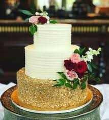 Rustic Wedding Cake With Gold Confetti