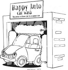 Coloring Car Pictures Vector Of A Cartoon Driving Through An Auto Wash Page Outline
