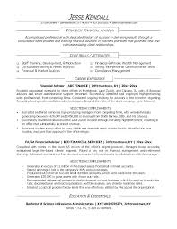 Financial Advisor Resume Samples Example Professional Bank