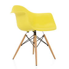 Eames Style DAW Light Yellow Plastic Dining Armchair With Wood ... Eames Plastic Armchair Daw 3d Cgtrader Replica Chair Ding Chairs Nick Scali Online Style Dark Gray With Wood Eiffel Charles Ray Office Upholstered Grey Cult Uk Armchair Model White And Dowel Light Buy The Vitra Utility Dowel Kids Vetrohome Modern Fniture