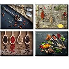 Kitchen Pictures Wall Decor SZ 4 Piece Set Spice And Spoon Vintage Canvas Art