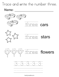 Trace And Write The Number Three Coloring Page