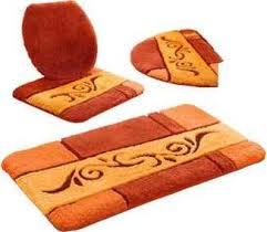 hagemann badezimmer garnitur orange gemusterte badematten badgarnituren